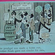 "Vintage Negro Humour Postcard ""The Prodigal Son Made A Home Run"" 1908"