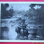Vintage WW2  New Guinea Native Women Washing In River