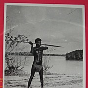 Vintage WW2 Photograph Solomon Islands Native Spear-man