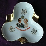 Lovely Prince Rainier & Princess Grace Limoges Souvenir Ashtray Circa 1956