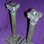 Victorian Corinthian Column Brass Candle Sticks Pair