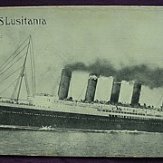 S.S. Lusitania Postcard Dated 1908