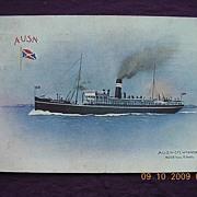 A.US.N. Liner 'Wyandra' Vintage Postcard 1911