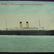 White Star Line 'R.M.S Adriatic' Vintage Postcard