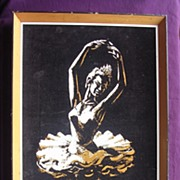 Vintage Ballerina Painting On Velvet