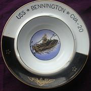 'U.S.S Bennington - CVA - 20' Vintage Souvenir Porcelain Ashtray