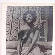 Vintage WW2 ERA Photo Topless Pacific Islands Girl