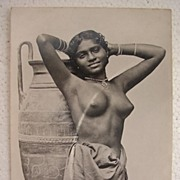 Vintage Topless RODIYA Native Girl From Ceylon Postcard