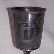 Early American MERIDEN B Pewter Goblet Shooting Trophy