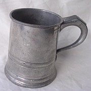 Victorian JAMES YATES Polished Pewter Cylindrical Half Pint Tankard