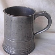 Victorian JAMES YATES Cylindrical Polished Pewter Pint Tankard