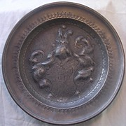 Large 18th Century PEWTER PLATE With Heraldic Crest in Repousse