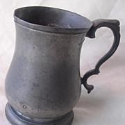 WILLIAM 1V 'TULIP' Half Pint Pewter Tankard Circa 1835