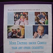 "Esquire 1944 'CAMELS' Advert ""More Doctors Smoke CAMELS Than Any Other Cigarette"""