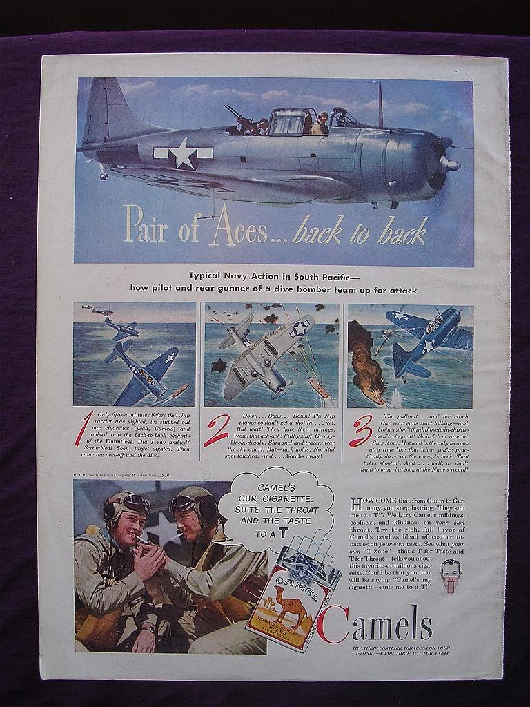 """Esquire 1944  'CAMELS' Advert  """"Pair of Aces ....  .back to back"""""""