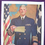 """Esquire 1944 WW2 Advert ADMIRAL STARK Says 'Buy Another War Bond Today"""""""