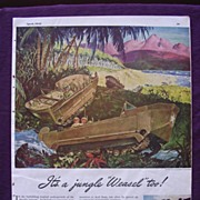 "ESQUIRE Magazine WW2 ""It's A Jungle Weasel Too"" Studebaker Advert"