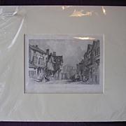 Victorian Engraving 'Old Bridge Street - Chester' Circa 1836