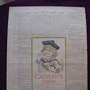 Victorian CADBURY'S COCOA Advert From THE MILLION Newspaper of May 1892