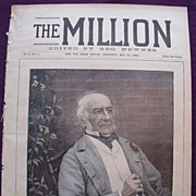 1892 Font Cover THE MILLION Newspaper 'The Right. Hon. W.E. Gladstone'