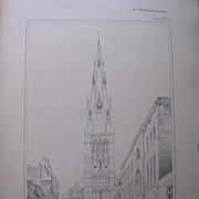 Stunning Large 1858 Lithograph of SAINT MARY'S  - Stamford - Lincolnshire