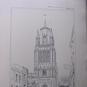 Stunning Large 1858 Lithograph of SAINT MARY-REDCLIFFE  - Bristol - Gloucestershire