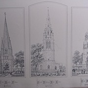 Stunning Large 1858 Lithograph of St. MARY'S -Sutton: St. MARY'S - Wilby: St. PETER & St. PAUL