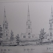 Stunning Large 1858 Lithograph of St. MARY'S - Rushden: St.MARY'S - Thaxted : ALL SAINTS' - Mo