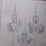 Stunning Large 1858 Lithograph of St. JAMES - Hanslope: ALL SAINTS' - Oakham: ALL SAINTS' - Ro