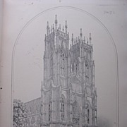 Stunning Large 1858 Lithograph of THE MINSTER  - BEVERLEY - Yorkshire