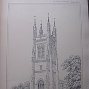 Stunning Large 1858 Lithograph of SAINT MARY'S - St. Neots - Huntingdonshire