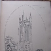 Stunning Large 1858 Lithograph of SAINT CUTHBERT'S - Wells - Somersetshire