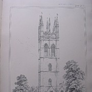 Stunning Large 1858 Lithograph of SAINT MARY MAGDALENE College Chapel - OXFORD - Oxfordshire