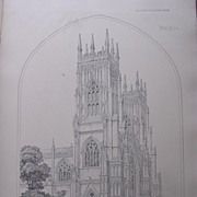 SOLD Stunning Large 1858 Lithograph of THE CATHEDRAL - YORK - Yorkshire