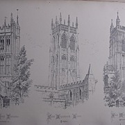 Stunning Large 1858 Lithograph of St.MARY'S - Ilminster: St. AUGUSTINE'S - Hedon: St. MARY'S P
