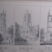 Stunning Large 1858 Lithograph of St.ANDREW;S - Backwell: At. MARY THE VIRGIN - Fairford: St.