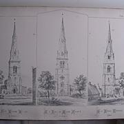 Large Lithograph :   St.Leonards Loddington  -St.James Spaldwick  -  St. Nicholas Cottesmore