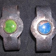Arts & Crafts Napkin Rings With Enamel Cabochons