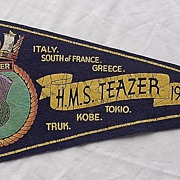 1943-45 Pennant For H.M.S. Teazer