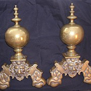 Massive Ornate Victorian Brass Andirons