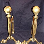 A Pair Of Classical Styled Victorian Brass Andirons