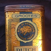 GROOTES' Dutch Girl Brand 4 Ounce Cocoa Tin Circa 1908