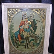Beautiful Victorian Lithograph Of Mary, Joseph, & Baby Jesus, Circa 1880