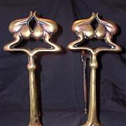 Victorian Art Nouveau Brass Andirons