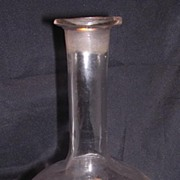 Victorian Hand Blown Decanter With Facet Cut Oval Decoration