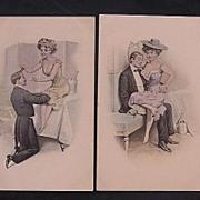 A Set Of Four Risque Austrian Postcards Circa 1900