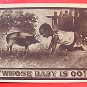 "BLACK AMERICANA  Card 'Whose Baby Is OO"" Postally used 1910"