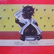 Old Black Americana Curt Teich Card  'I is Busy 'Scuse de View'