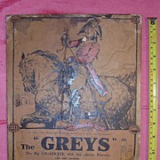 "Old Advertising Poster for ""THE GREYS"" Cigarettes Circa 1915"