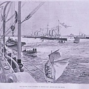 'The Channel Fleet Anchored at Mount's Bay' Full Page from The London Illustrated News ...